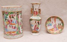 3 Pcs. Rose Medallion, Brush Pot, Saucer And Miniatu