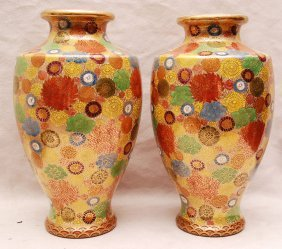 """Pair 1920's Satsuma Vases, 10""""h"""