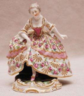 Early 19th C. Lady In Flowering Dress Accompanied B