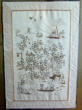 Antique Chinese Silk Tapestry 100 Children Beautifully