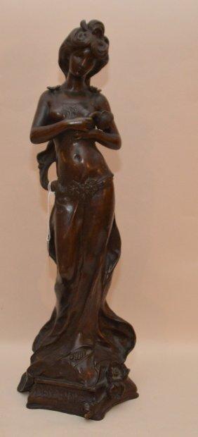 """Moreau Bronze Maiden Sculpture """"desdemone"""" Ht. 20"""""""