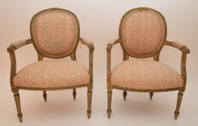 Pair French Painted Fauteuils With Fortuny Upholstery
