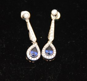 Sapphire And Diamond Earrings, 18kt White Gold