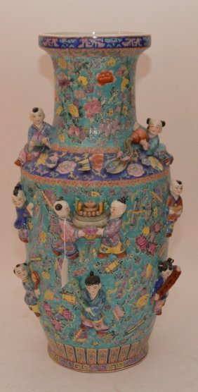 Large Chinese Porcelain Figures With Raised Figures.