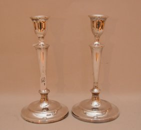 Pair Georgian English Sterling Weighted Candlesticks.