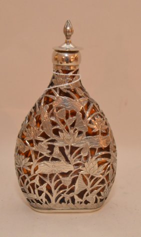 "Japanese Amber Glass Flask With Silver Overlay, 7""h"