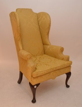 Wingback Chair With Gold Damask Upholstery