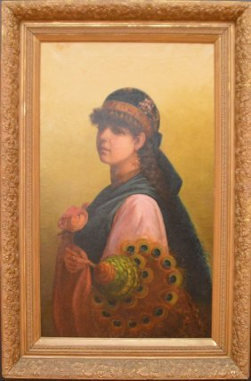 American School Oil On Canvas, Orientalist Girl, Canvas