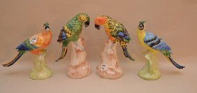 Pair Of Italian Hand Painted Porcelain Parrots On Tree