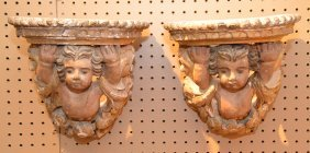 19th C. Carved And Gilded Putti Wall Brackets, Approx.