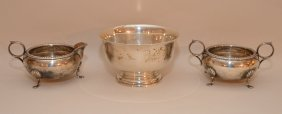 3 Pcs. Sterling, Revere Style Bowl And 2 Footed Salts