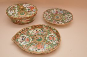 3 Chinese Pieces Of Rose Medallion Porcelain