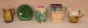 "4 Pieces Of Majolica Three Pitchers (tallest 8"") One"