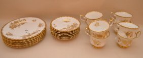 "24 Piece Royal Albert ""golden Glory"" Porcelain Dessert"