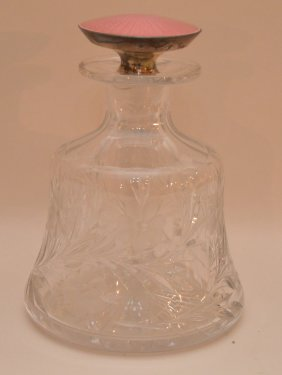 Hawkes Cut And Engraved Cologne Bottle With Sterling