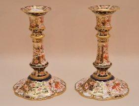 "Pair Royal Crown Derby Candlesticks, 6""h"