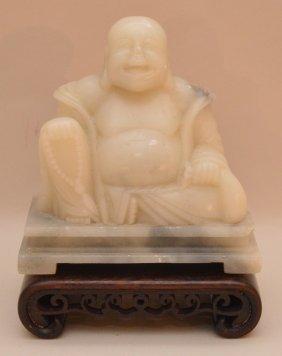 "Soapstone Buddha On Teak Base, 5""h (without Stand)"