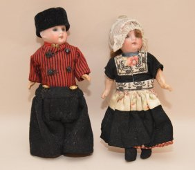 Pair Of German Girl And Boy Dolls With Bisque Heads, 8
