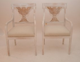 Pair White Washed 20th C. Arm Chairs, Carved Wheat