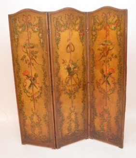 3 Panel Screen, Leather Panels, Hand Painted