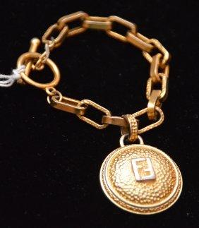 Vintage Fendi Gold Tone Metal Solar Charm Bracelet,