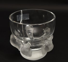 Lalique France Crystal Owl Bowl Vase Clear Bowl With Lot 8