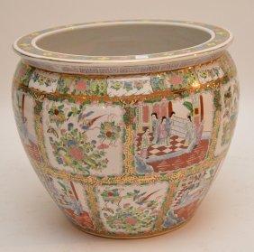 Large Chinese Porcelain Rose Medallion Style Fish Bowl.