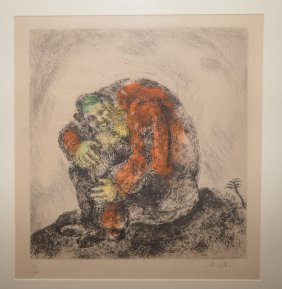Marc Chagall Etching. Elijah On Mt. Carmel, Pl.86 (from