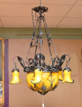 Iron & Blown Art Glass French Deco Style Chandelier.