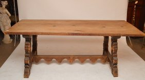 19th C. Spanish Colonial Carved Trestle Table With 6