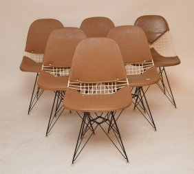 6 Modern Eiffel Base Chairs, White & Black Metal Frames