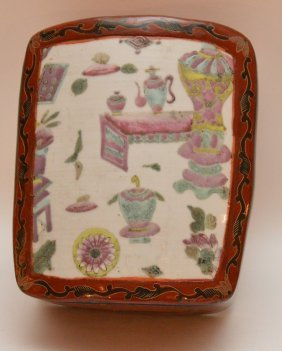 Chinese Red Lacquer Box With Inset Chinese Porcelain