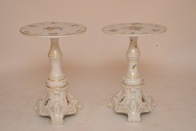 Pair Dresden Sitzendorf Porcelain Tables Each With Hand