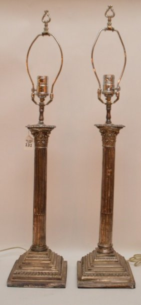 Pair Silver Plated Column Form Lamps. Ht. 18 1/2""