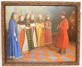 Antique Russian Paper Mache' Plaque, Oil Painting,