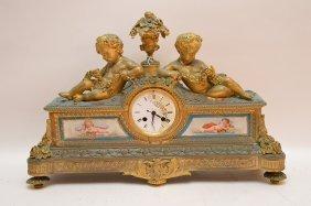 19th Century French Bronze & Porcelain Clock.
