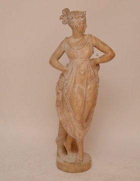 "Large Alabaster Maiden Sculpture. Ht. 40"""