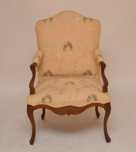 Upholstered Arm Chair With Carved Walnut Frame,