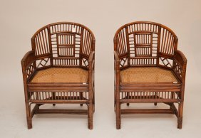 Pair Bamboo English Chippendale Style Chairs Caned Seat