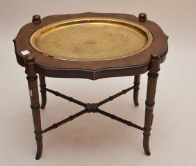 Bamboo Motif 2pc. Tray Table, Brass Tray