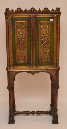 Painted Green/red Carved Court Cupboard On Trestle