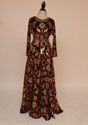 Probably Fortuny Long Sleeve Dress, Gold Metallic