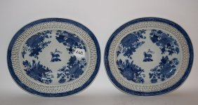 "Pair Blue & White Reticulated Oval Platter, 11""w"