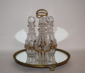 Bronze Mounted Mirrored Tantalus With 3 Matching