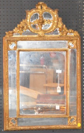 "19th Century Carved Giltwood Mirror. Ht. 36"" W. 22"""