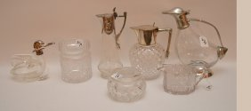 7 Glass Pieces, Incl; 4 Pitchers With Silver Plate