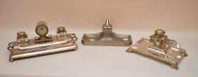 3 Silver Plated Inkwells