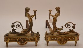 Pair Of Bronze Figural Andirons