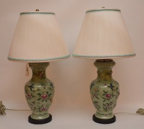 Pair Of Chinese Celadon Lamps Raised, Bird And Flower