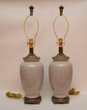 Pair Of Porcelain Lamps On Decorated Footed Attached
